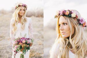 novia con corona de flores