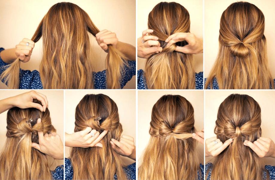 peinado de media cola con laso