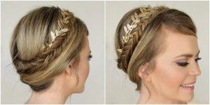 peinado con tocado dorado