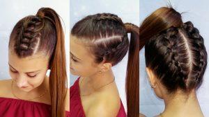 peinado sencillo con trenzas y coleta