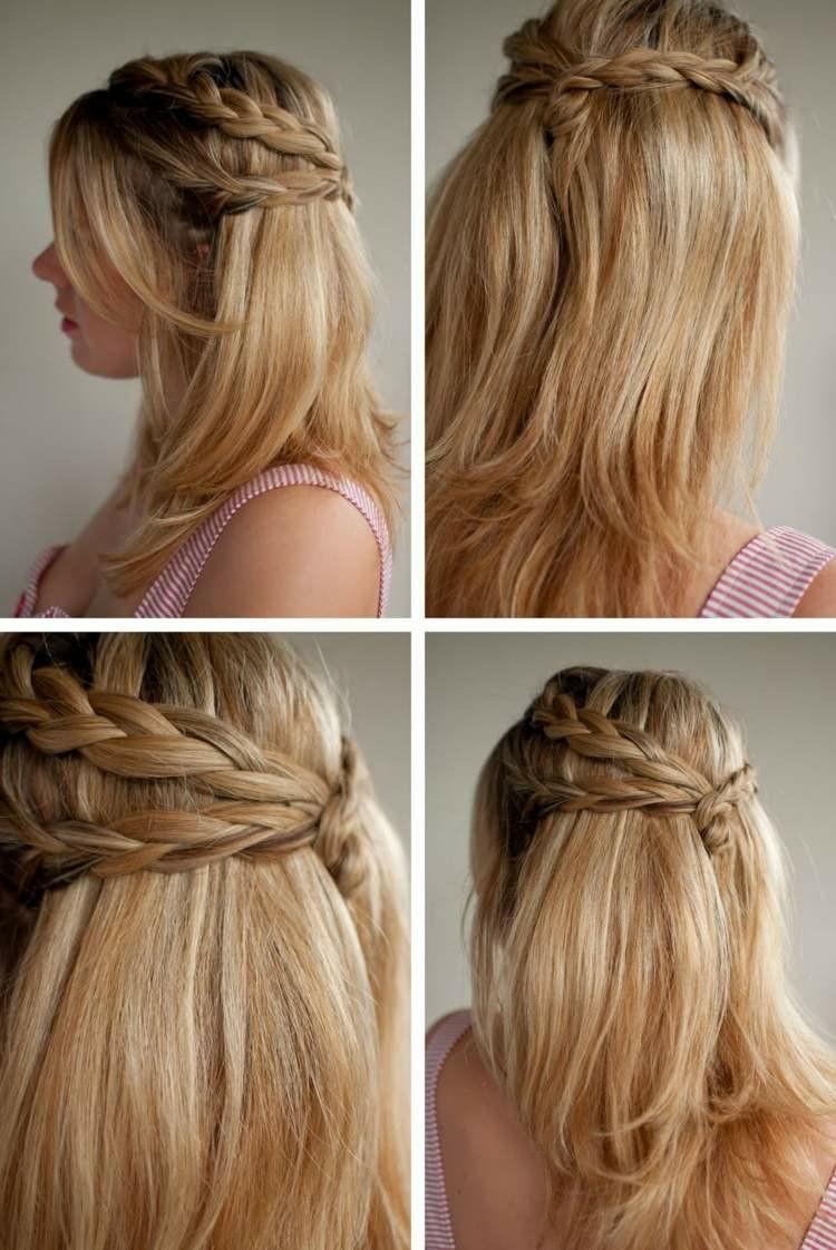 `peinado doble trenza cabello liso