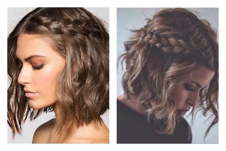 peinados sencillos con trenzas y ondas para cabello corto