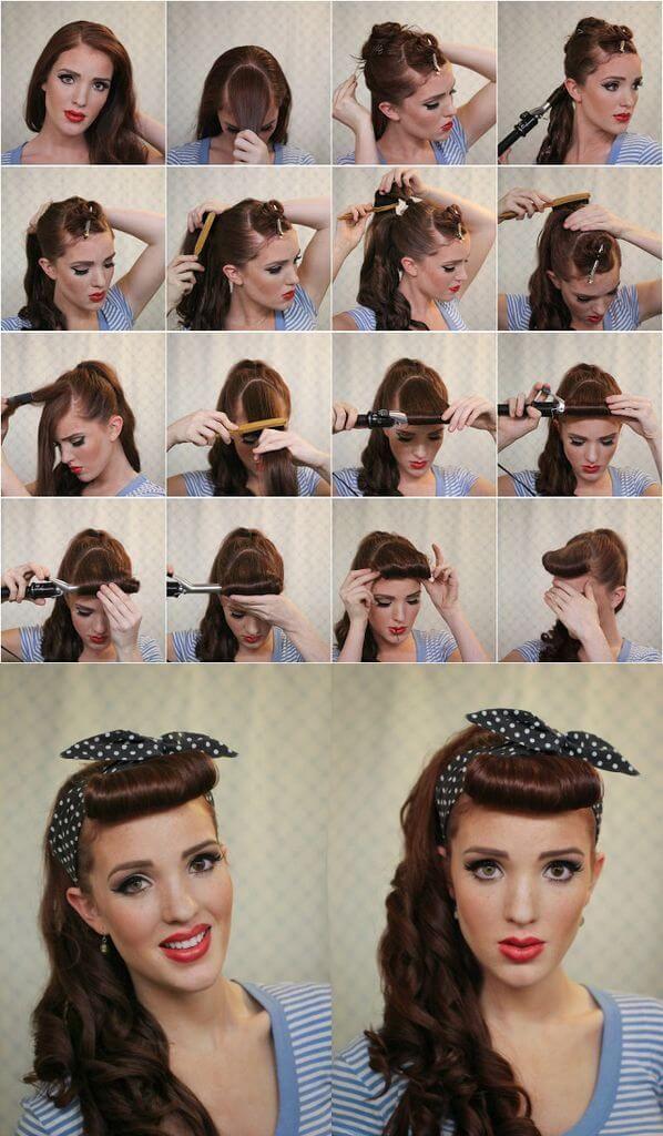 peinado pin up con flequillo