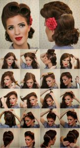 peinado pin up con rosa