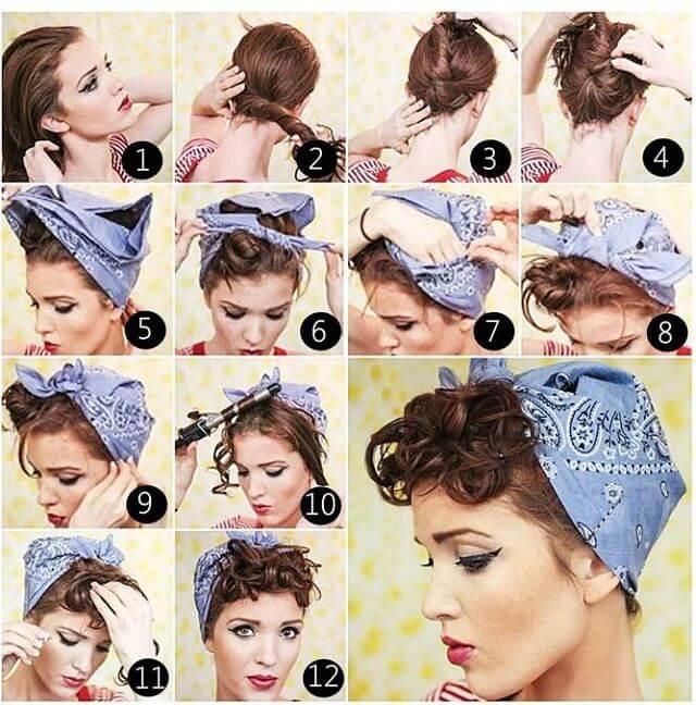 peinado pin up paso a paso con pañuelo