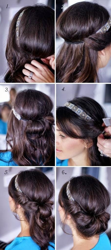 peinado con diadema de los años veinte