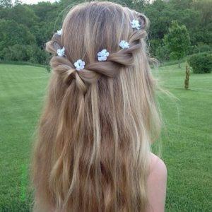 peinado semi recogido con flores