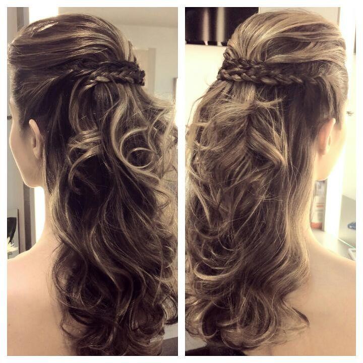 peinado semirecogido con trenzas cruzadas elegante
