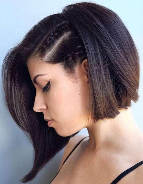 peinado con trenzas laterales para corte bob
