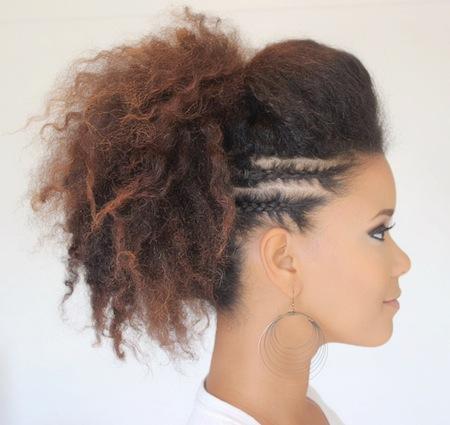 peinado con tupe para cabello rizado