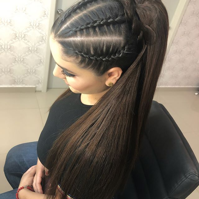 peinado de coleta con trenza lindo