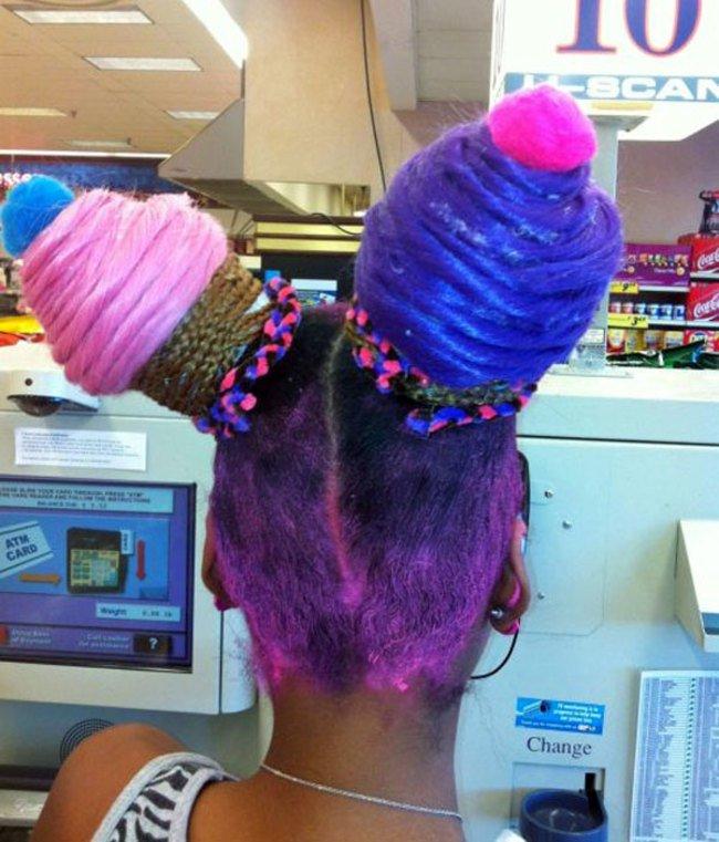 peinado raro en forma de helado