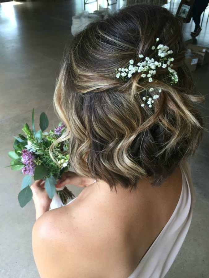 peinado de boda media melena
